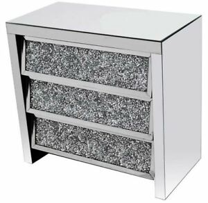 NEW Mirrored Diamond Glass Silver Crystal Side Board Unit/3 angle drawer/storage