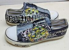 Ed Hardy Don Ed Women Black Canvas Athletic Sneakers Lace Option Skate Shoes 6 M
