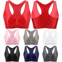 Damen Sport BH Zip Bustier Bralette Dehnbar Bra Top für Yoga Fitness Training