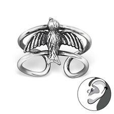 925 Sterling Silver Flying Bird Ear Cuff oxidized