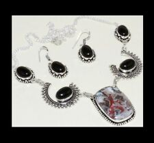 NEW - MEXICAN LAGUNA LACE & BLACK ONYX ANTIQUE SILVER NECKLACE & EARRINGS SET