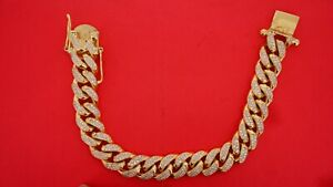 440 Diamonds 125 Grams 10k Yellow Gold Miami Cuban Bracelet Iced Out Best Deal
