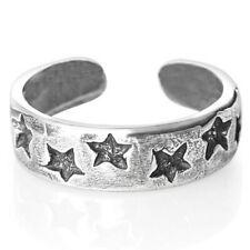 Silver Toe Ring Half Finger Open Knuckle Adjustable Black Stars Star