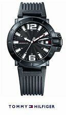 Authentic TOMMY HILFIGER Watch Turbo Black Silicon Rubber + Free Tommy Wallet