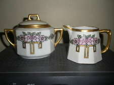 ANT. SECESSIONIST ARTS CRAFTS VTG HAND PAINTED GOLD 1920'S SUGAR CREAMER LIMOGES