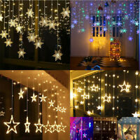 96LED Icicle Hanging Snowflake Curtain String Lights Fairy Christmas Party Decor