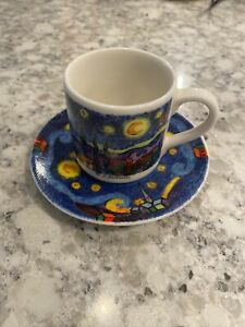 Chaleur D. Burrows Espresso Cup Mug Saucer Vincent Van Gogh Starry Night