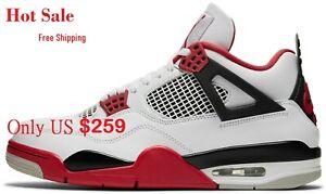 Air Jordan 4 Fire Red & White men Shoes