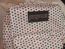 NWT JANSPORT WHITE MINI HEARTS SUPERBREAK BACKPACK & TOTE BAG MATCHING SET