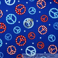 BonEful Fabric FQ Cotton Quilt Blue Red White Star Sm PEACE SIGN Hippie American