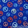 BonEful Fabric FQ Cotton Quilt Blue Red White Star PEACE SIGN Hippie America USA