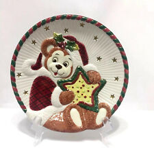 Teddy Bear Santa Serving Cookie Plate Christmas Retired 8.25 Inch Fitz and Floyd
