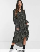 ASOS Missguided Petite frill neck midi smock dress in black floral Size 8