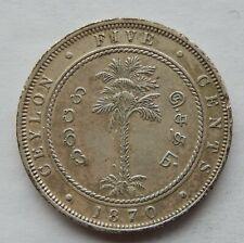 """1870 Ceylon 5 Cents Coin KM#93  """"Higher Grade Coin""""  SB6088"""