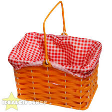 GINGHAM PLASTIC BASKET CHARACTER FANCY DRESS PROP ACCESSORY RED AND BLUE PRINT