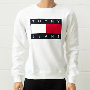 Tommy Hilfiger Tommy Jeans Men's Pullover, White, Long Sleeve, Crew Neck
