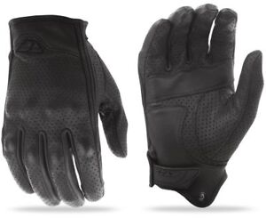 Fly Racing Black Leather Thrust Perforated Motorcycle Rider Gloves Choose Size