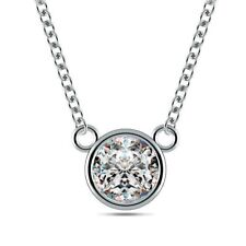 0.7ct I1/HI Natural Round Diamond Platinum Solitaire Diamond Pendant Necklace