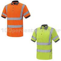 Aqua Premium High Vis Viz Visibility Polo Shirt Work Safety Short Sleeve Vented