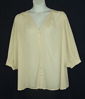 Roamans New Ivory Silky-Feel V-Neck Spring Career Blouse Plus Size 22W 2X