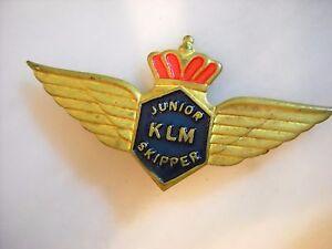 Vintage 60s Enamel Junior KLM Skipper Aviation Insignia Badge/Pin