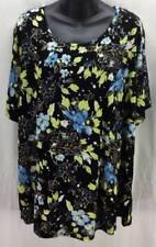 Jaclyn Smith Plus Size Blouse 3X Black Blue Flower Short Sleeve Scoop Women 2827