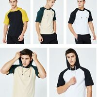 Hoodie Hooded Basic Mens Muscle Slim Fit Tops Shirts Short Sleeve T-shirt Casual