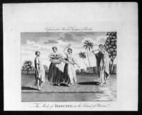 1778 John Moores Antique Print Dancing Girls on Raiatea Island, French Polynesia