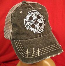 Irish Celtic Cross Distressed Trucker Cap Low Profile Cotton Mesh Irish Cross