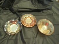 Lot of 3 Vintage Gold Carnival Glass Dishes
