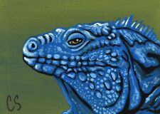 ACEO ATC Original Miniature Painting Blue Iguana 1 Lizard Art -C. Smale