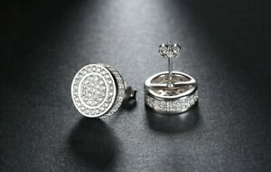 Men's 925 Silver Micro Pave Double Round Screw Back Stud Hip Hop Earrings 452 S