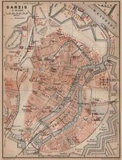GDANSK antique town city plan miasta. Gda?sk Danzig. Poland mapa 1900 old