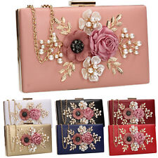 Women Faux Leather Floral Pink Gold Black Red Blue Box Party Prom Clutch Bag