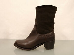 AGL ATTILIO GIUSTI LEOMBRUNI Lammfellstiefel Gr.38,5 Leder Stiefel Boots Braun