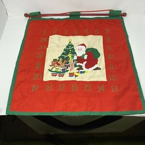 Hanging Santa Advent Calendar with Wood Rod; Fabric with Appliques & Embroidery