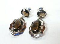 NATURAL SMOKY QUARTZ SOLID 925 STERLING SILVER EARRING SIZE 1.00