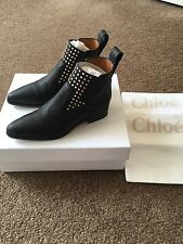 CHLOÉ Studded Textured-Leather Chelsea Ankle Boots Black IT34.5 US 4