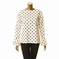 LAUREN RALPH LAUREN Women's White Polka Dot Boat Neck Blouse Shirt Top S TEDO