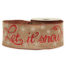 Christmas Hessian Wired Ribbon Let It Snow Snowflakes Red Glitter X 10yds