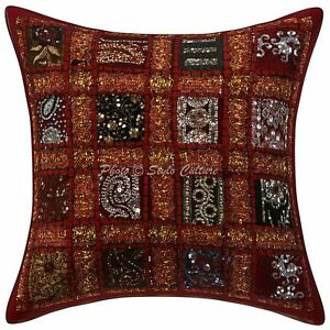 Glitter Patchwork Sequins Cotton Throw Cushion Pillow Cover Indian Pillowcase