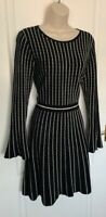 RARE KAREN MILLEN STRIPE FIT FLARE KNIT DRESS SIZE M 12 10 BLACK WHITE BUSINESS