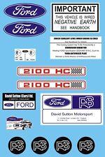 Ford Escort RS2100 Under Bonnet Decal Sticker Set MK1 & MK2 DAVID SUTTON RS2000