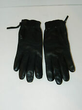 Vince Camuto Black Genuine Leather Lining Gloves w/ Zipper