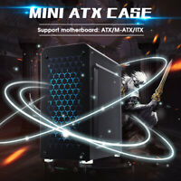 Transparent Side Gaming Computer PC Case Liquid 2 Cooling Fan Desktop ATX Tower