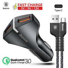 QC3.0 Dual USB Car Charger &Fast Cable Type-C USB C For Samsung Galaxy S8 S9 +