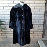 "Mincara Russel Taylor Faux Fur Coat Womens Vintage 1980s 41"" Dark Brown Black"