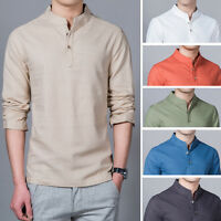 Men's Shirts Slim Long Sleeve Stand Collar T-Shirts Cotton Casual Shirts Tops