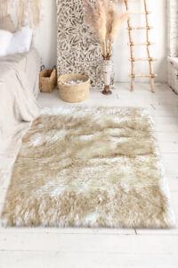 Lambzy FAUX  Rectangular Sheepskin,Silky Shaggy Rug,Soft Touch Fur -WHITE/BROWN