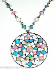 Multicolor Pink, White, Blue Fire Opal Inlay 925 Sterling Silver Necklace 19.5''